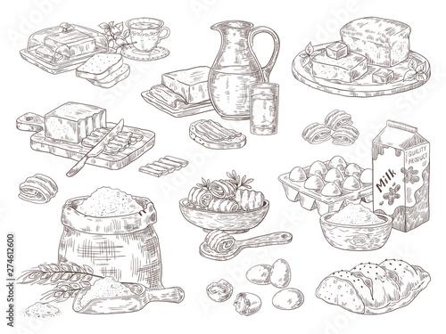 Stampa su Tela Hand drawn bakery goods