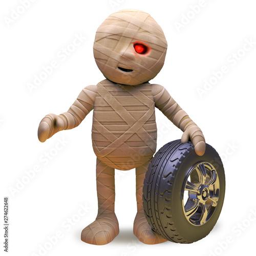Fototapeta Egyptian mummy monster sells car tyres and wheels during the week, 3d illustrati