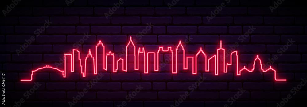 Red neon skyline of Atlanta city. Bright Atlanta long banner. Vector illustration. <span>plik: #274644801 | autor: greens87</span>
