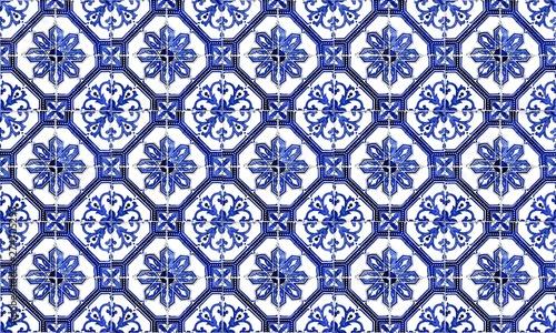 Fotografie, Obraz Seamless Portugal or Spain Azulejo Wall Tile Background