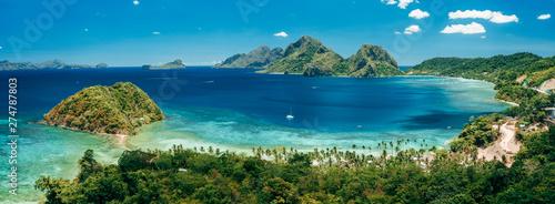 Obraz na plátne Aerial panoramic view of Las Cabanas beach and sea bay in El Nido, Palawan, Phil