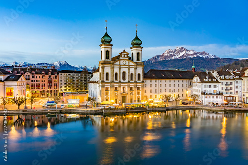 Stampa su Tela Panoramic view of Lucerne with the bridge Kapellbrucke, Wasserturm Tower and the Church of the Jesuits, Lucerne, Switzerland