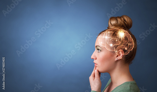 Foto Portrait with lighting brain and brainstorming concept