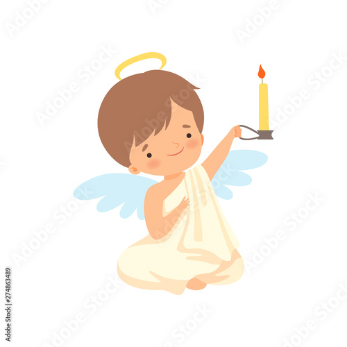 Fotografia Cute Boy Angel with Nimbus and Wings Sitting and Holding Burning Candle, Lovely