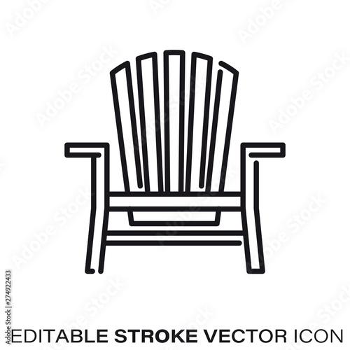 Photographie Adirondack chair vector line icon