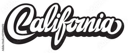 Stampa su Tela Vector illustration with calligraphic lettering California on white background