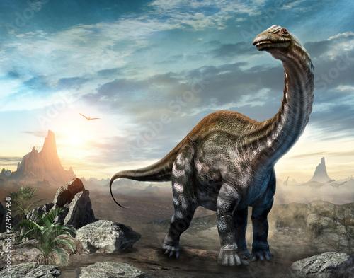 Wallpaper Mural Apatosaurus dinosaur scene 3D illustration