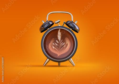 Obraz na plátne Coffee alarm clock concept