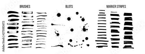 Fotografia, Obraz Black ink brush strokes vector set