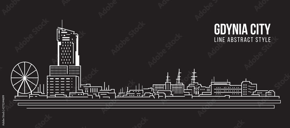 Cityscape Building Linia sztuki Wektor ilustracja projektu - miasto Gdynia <span>plik: #275244699 | autor: ananaline</span>
