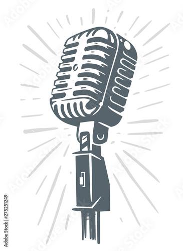 Fotografia Retro Microphone Sketch on white background