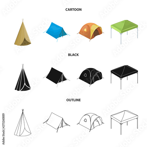 Valokuva Vector illustration of tent and camp sign