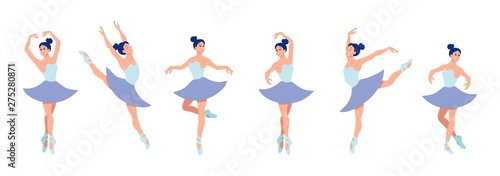 Fotografiet Set of dancing ballerinas in flat style isolated on white background