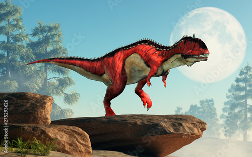 Slika na platnu A red and white Rajasaurus with black stripes on a cliff by the moon