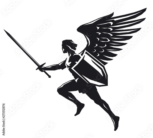 Canvas Angel with shield and sword