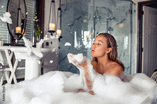 Slika na platnu Concept of sensual water care and enjoyment at home