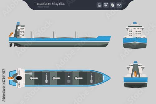 Fotografia Cargo ship on a grey background