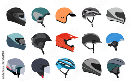Photo Set of racing helmets on a white background