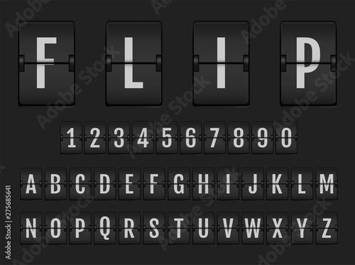 Flip digital calendar clock numbers and letters. Fototapete