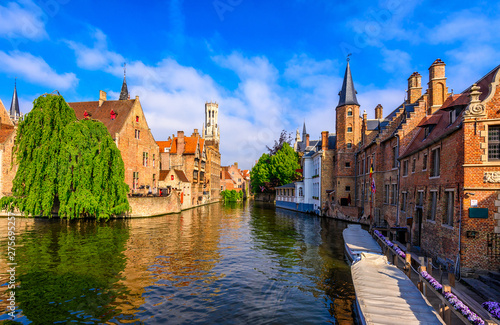 Classic view of the historic city center of Bruges (Brugge), West Flanders province, Belgium Fototapeta