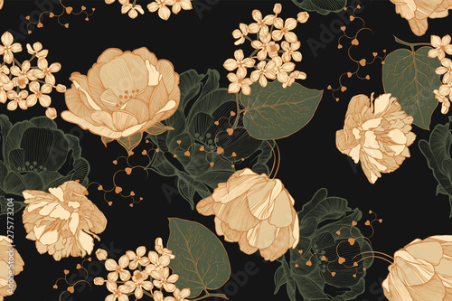 Floral vintage seamless pattern with roses, tulips and lilac. Hand drawing, vector illustration.