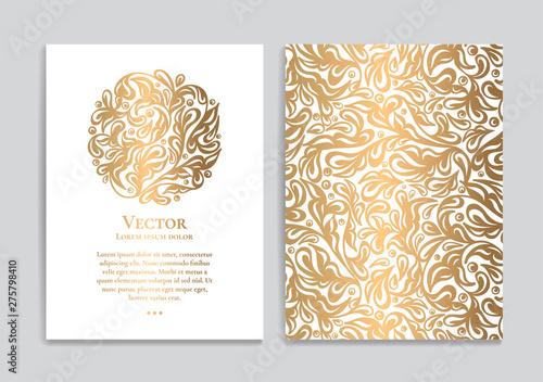 Obraz na płótnie White vector greeting card with golden luxury ornament template