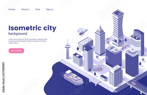 Vászonkép Isometric city background