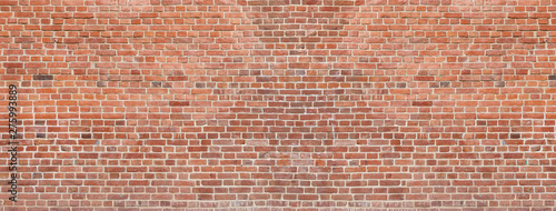 Foto Old red brick wall background. Panoramic wide texture