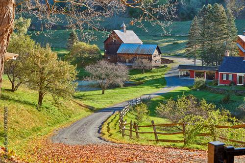 Canvas Print Sleepy Hollow Farm at sunny autumn day in Woodstock, Vermont, USA