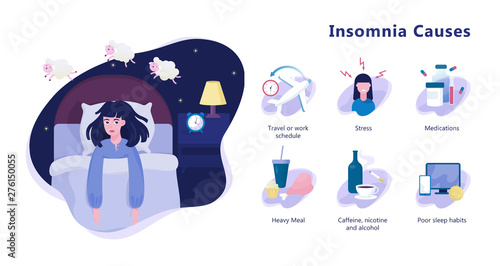 Fotografie, Obraz Causes of insomnia infographic. Stress and health problem