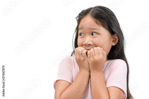 Stampa su Tela portrait of shocked or scared kid girl isolated