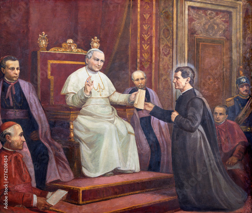 Fotografia CATANIA, ITALY - APRIL 8, 2018: The painting of Don Bosco before the pope (founding of the order of Salesians) in the church Chiesa di San Filipo Neri  from 20