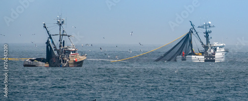 Obraz na płótnie Commercial squid fishing boats work around the clock, including daylight hours, using purse seine nets as squid return to the waters of the Monterey Bay
