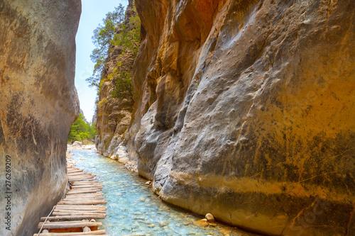 Passage of famous Samaria Gorge, Crete, Greece Fototapeta