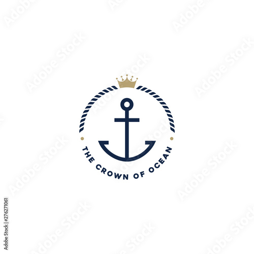 Canvas Print Anchor, Rope and Crown for Marine Ship Boat logo design