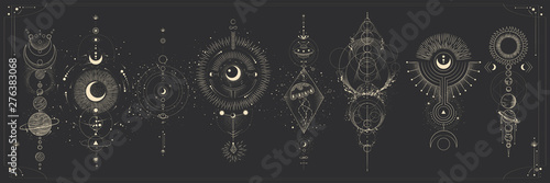 Cuadros en Lienzo Vector illustration set of moon phases