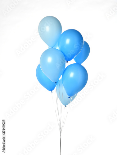 Valokuva Bunch of big blue balloons object for birthday party isolated on a white