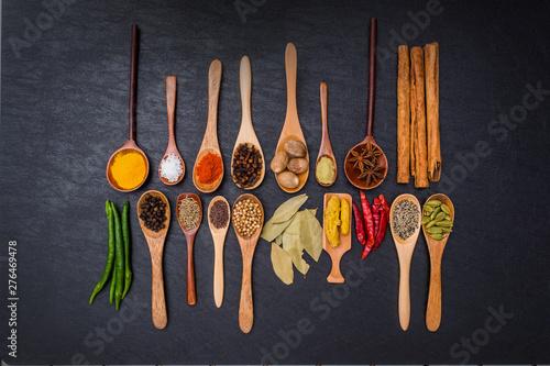 インド料理のスパイス集合写真 Spice India dish of the curry Fototapet