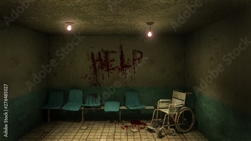Stampa su Tela Horror and creepy seat waiting and wheelchair in front of the examination room in the hospital and help Blood
