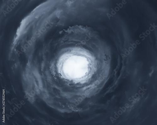 Fototapeta Cloudscape with eye of hurricane
