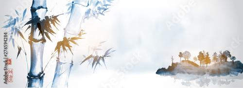 Naklejka na szafę Bambusowe drzewa i wyspa w mgle na białym tle  Tradycyjne Chińskie malowidło