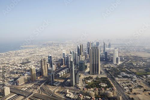 Stampa su Tela Aerial view of the City; Burj Khalifa;At The Top;Dubai; United Arab Emirates