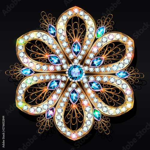 Leinwand Poster An illustration of a shiny pendant brooch with precious stones