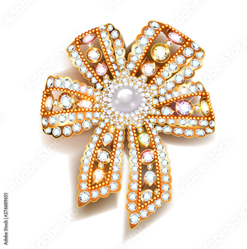 Illustration jewel brooch bow gold with precious stones Fototapete