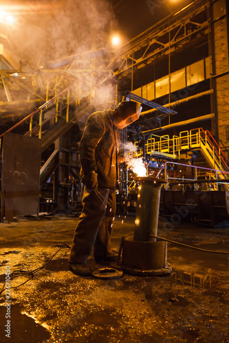Canvas Print steel production in electric furnaces