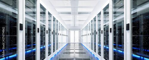 Cuadros en Lienzo Data server rack center. Backup cloud service. 3D rendering