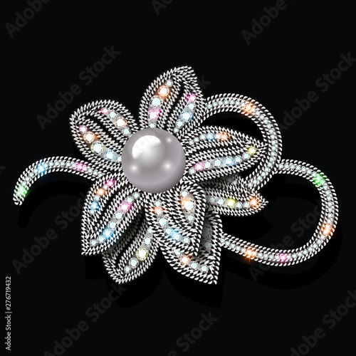 Jewelry gold brooch flower in gems with pearls Poster Mural XXL