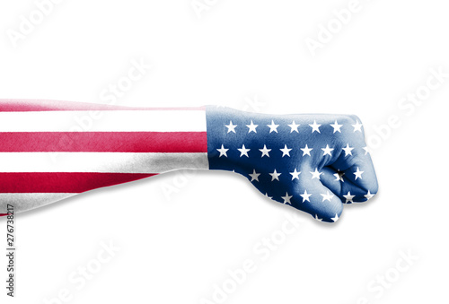 Carta da parati USA flag print screen on fists with white background for celebration 4th July United States of America national day