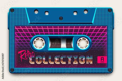 Fototapeta Relistic Bright Blue Audio Cassette, Retro Collection, Mixtape in Style of 80s a
