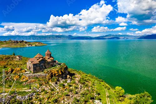 Fotografie, Obraz Hayravank monastery on the shores of lake Sevan in Armenia